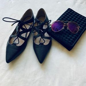 TOPSHOP Black Pointed Lace Up Flats